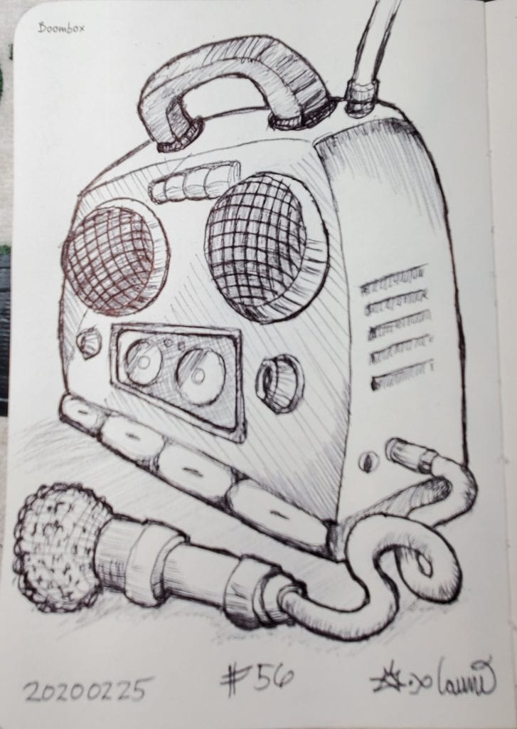 2020 Sketch of the day Number 56: Boombox